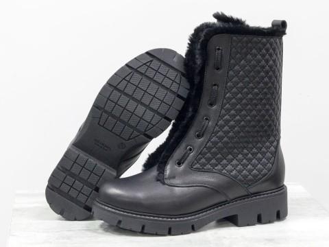 Высокие женские ботинки из натуральной черной кожи с отделкой из эко-меха