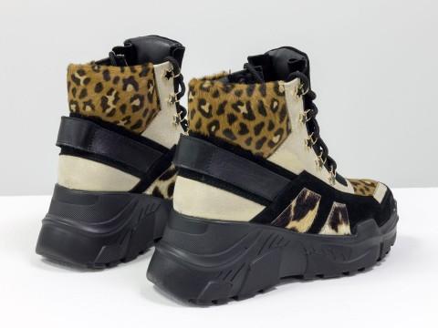 Женские спортивные ботинки со шнуровкой из натуральной кожи, замши и меха пони