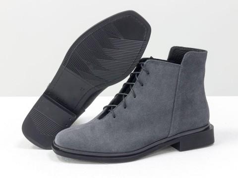 Женские ботинки с квадратным носком из натуральной серой замши