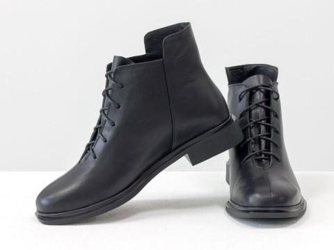 Женские  ботинки из натуральной черной кожи на шнуровке