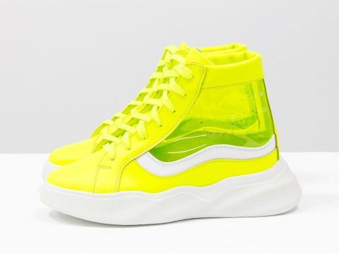 Женские ботинки кеды желтого цвета на высокой подошве со шнуровкой