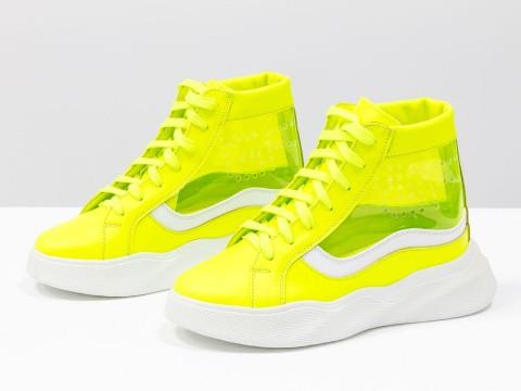 Женские неоново желтые ботинки из натуральной кожи и вставками из силикона