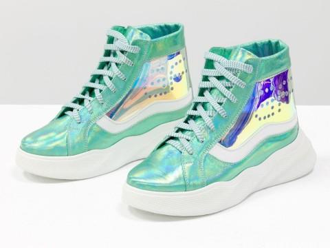 Женские ботинки кеды из натуральной голубой кожи и вставками из силикона на высокой подошве