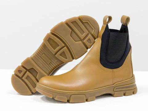 Женские матовые ботинки челси из натуральной кожи с широкой черной резинкой