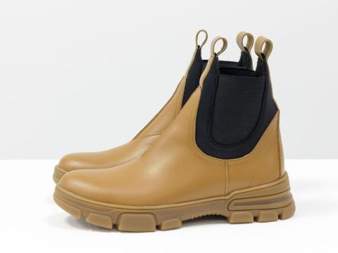 Женские матовые ботинки челси из натуральной кожи на модной подошве