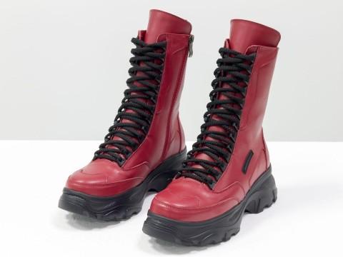 Красные ботинки на высокой подошве из натуральной кожи со шнуровкой