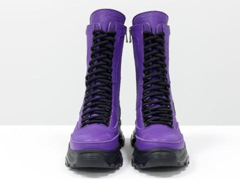 Фиолетовые ботинки на высокой подошве из натуральной кожи с текстурой зерно