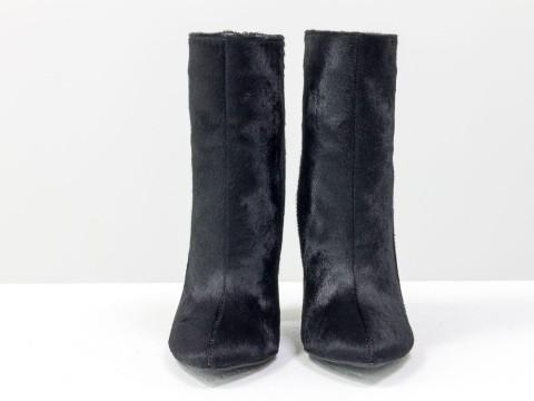 Женские дизайнерские ботильоны из меха пони черного цвета на высоком каблуке