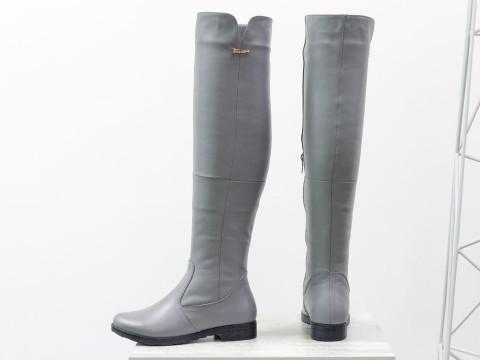 Высокие сапоги ботфорты серого цвета из натуральной кожи, М-1670-12