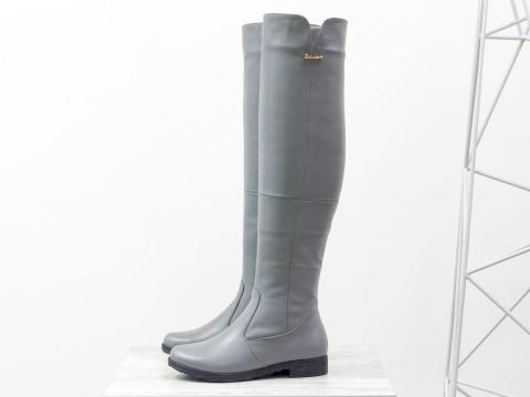 Серые высокие ботфорты из натуральной кожи на низком ходу, М-1670-12