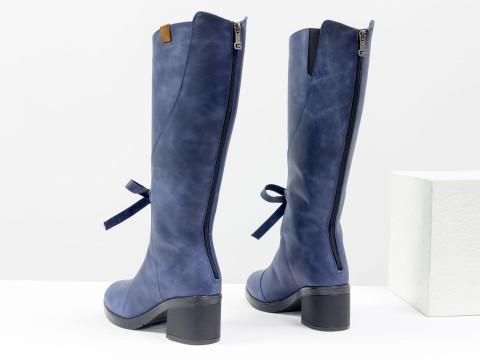 Женские синие сапоги из натуральной матовой кожи на удобном каблуке