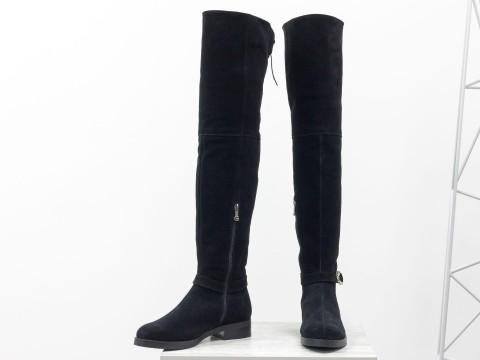 Высокие классические ботфорты-чулки из натуральной черной замши на низком ходу, М-19124-01