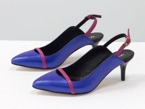 Туфли с открытой пяткой из натуральной кожи ярко-синего цвета на шпильке
