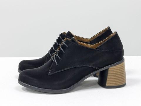 Черные туфли на шнуровке из натуральной кожи