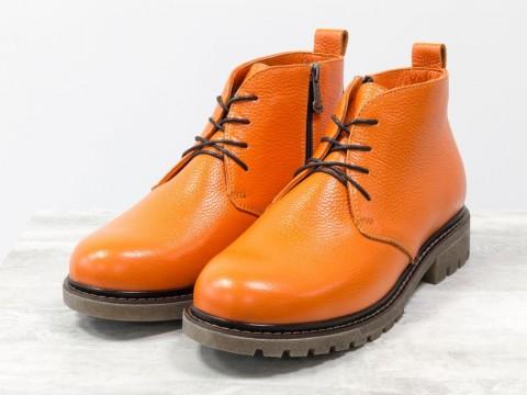 Ботинки натракторной подошве из натуральной оранжевой  кожи флотар со шнуровкой