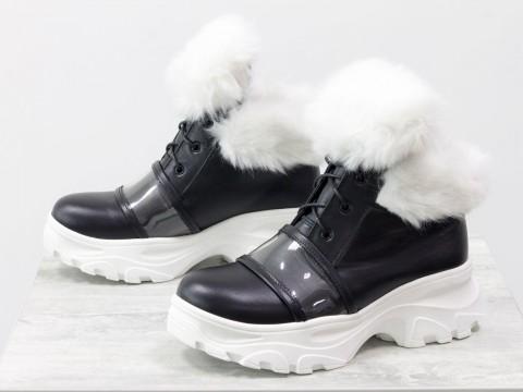 Черные кожаные ботинки с опушкой на модной высокой подошве, Б-1991-01