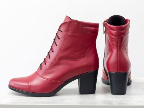 Красные ботинки на среднем каблуке из натуральной кожи, сезон осень-зима
