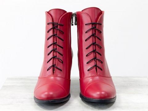 Красные ботинки на среднем каблуке из натуральной кожи со шнуровкой