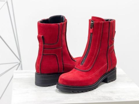 Замшевые женские ботинки красного цвета, Б-1821-01