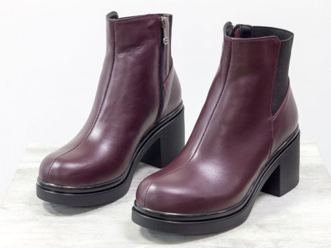 Женские бордовые ботинки из натуральной кожи на среднем каблуке