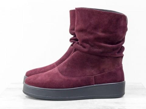 Женские бордовые ботинки из натурального замша на утолщенной подошве