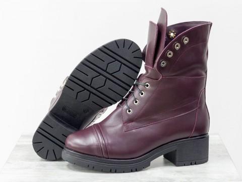 Женские ботинки берцы из бордовой кожи на маленьком каблуке, Б-1826-02