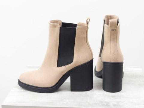 Женские ботинки на среднем каблуке персикового цвета, Б-17330-16