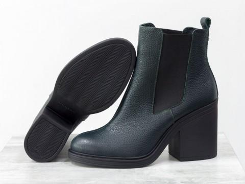 Женские ботинки свободного одевания из кожи зеленого цвета, Б-17330-19