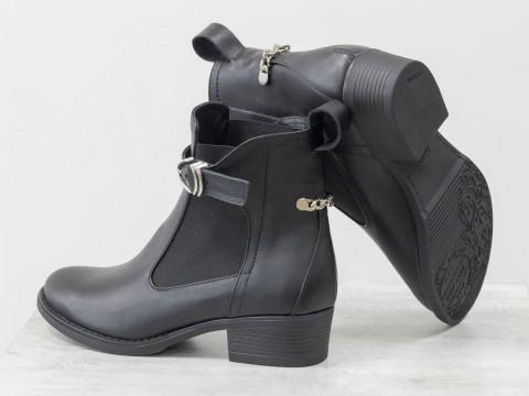 Женские демисезонные ботинки из натуральной кожи на маленьком каблуке