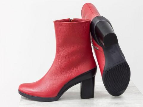 Женские классические ботинки красного цвета на каблуке,  Б-17456/2-04