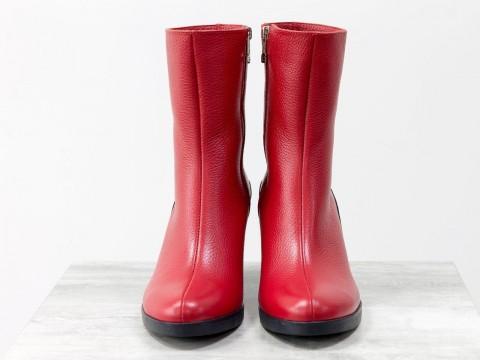 Женские классические ботинки из красной кожи флотар на среднем каблуке
