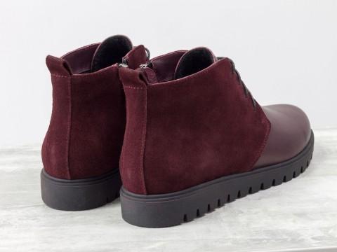 Женские осенние ботинки из натуральной кожи и замши бордового цвета на шнуровке