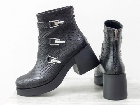 Женские весенние ботинки черного цвета на среднем каблуке, Б-1668-09