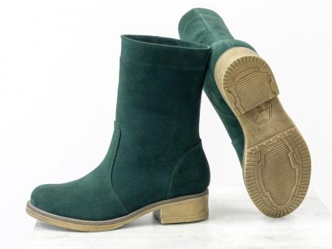 Женские замшевые ботинки зеленого цвета, Б-1998-01