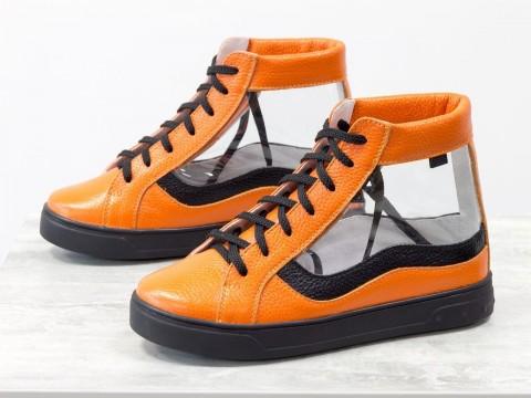 Женские прозрачные кеды из кожи флотар оранжевого цвета на шнуровке