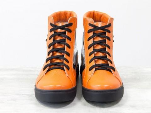 Женские прозрачные кеды из натуральной кожи флотар оранжевого и черного цвета
