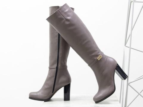 Классические сапоги на высоком каблуке из натуральной кожи, сезон осень-зима
