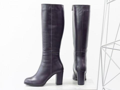 Классические женские сапоги на каблуке из натуральной кожи фиолетового цвета, М-17346/3-03