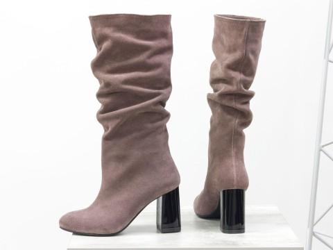 Сапоги-гармошки из натуральной замши на удобном каблуке