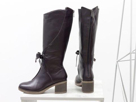 Сапоги коричневые женские на невысоком каблуке , М-17500-07