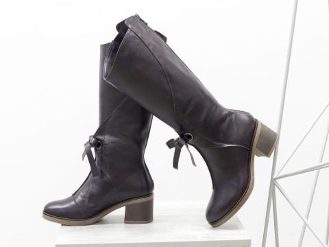 Сапоги коричневые женские из натуральной кожи на невысоком каблуке