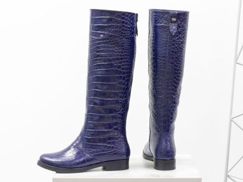 Синие женские сапоги из натуральной кожи на маленьком каблуке