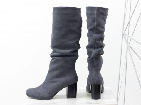 Женские серые сапоги на осень на удобном каблуке, М-17400/3-05