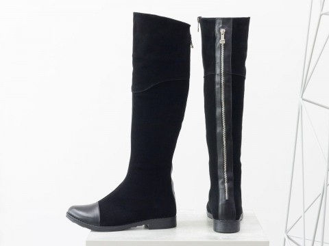Женские высокие сапоги из замши черного цвета, М-111-25