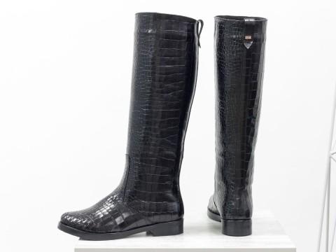 Женские высокие сапоги свободного одевания из натуральной черной кожи, сезон осень-зима