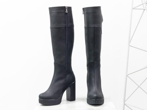 Зимние сапоги на высоком каблуке из натуральной матовой кожи черного цвета