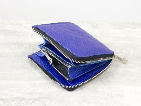 Женскиймаленький кошелек из кожи ярко синего цвета, К-02
