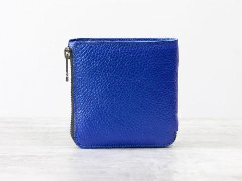 Женскиймаленький кошелек синего цвета из натуральной кожи