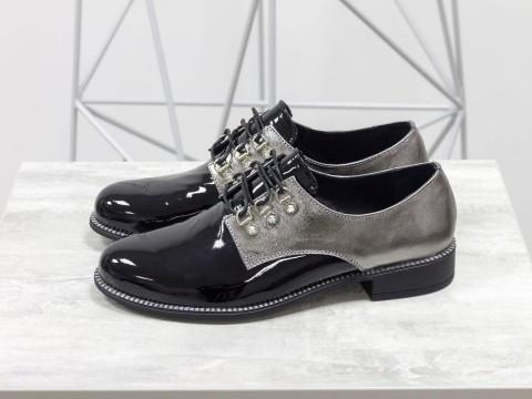 Черные лаковые туфли со шнуровкой на низком ходу, Т-17355-06