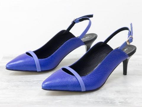 Туфли с открытой пяткой синего цвета на маленькой шпильке, С-1907-04